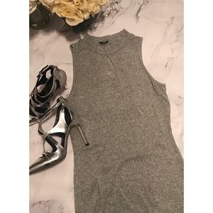 Acemi • grey mock neck body con dress with keyhole